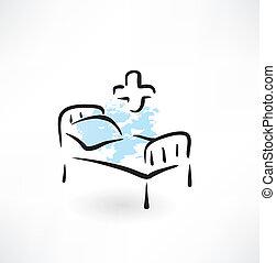 医学, grunge, 床, 图标