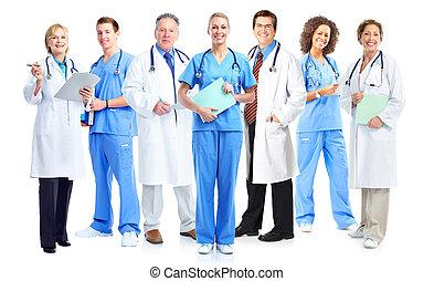 医学, nurses., グループ, 医者