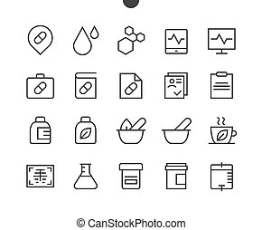 医学, ui, ピクセル, 完全, well-crafted, ベクトル, 薄いライン, アイコン, 48x48,...