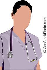 医学, v, 医者, stethoscope.