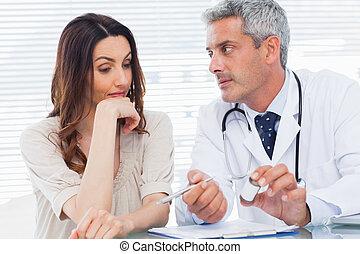 医生, 患者, 听, 严肃, 他的
