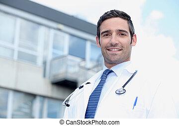 医生, 站, 在外面, 医院