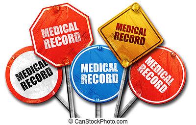 医療のレコード, 3d, レンダリング, 通りは 署名する