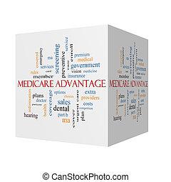 医療保障, 利点, 3d, 立方体, 単語, 雲, 概念