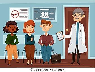 医者, ∥あるいは∥, 歯科医, ∥で∥, 人々, ラインでの待つこと
