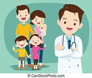 医者, かわいい, 家族, 微笑, 医学