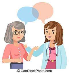 医者, そして, シニア, patient., 女性の話すこと, へ, physician., ベクトル, illustration.