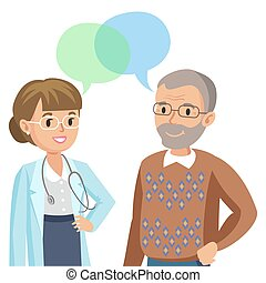 医者, そして, シニア, patient., 男話し, へ, physician., ベクトル, illustration.