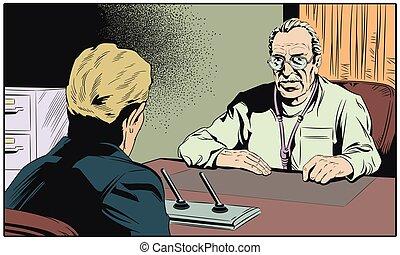医者, そして, patient., 株, illustration.