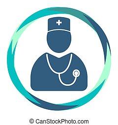 医者, アイコン, 抽象的, 円, 聴診器