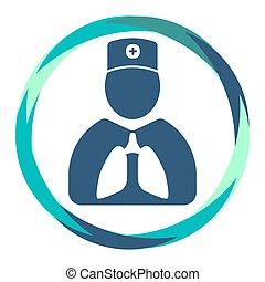 医者, アイコン, 抽象的, 肺, 円