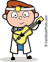 医者, -, イラスト, ギターの 演奏, ベクトル, 専門家, 漫画