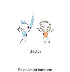 医者, イラスト, 患者