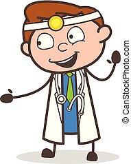 医者, イラスト, 顔, 朗らかである, ベクトル, 表現, 漫画