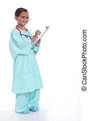 医者, クリップボード, 聴診器, ごしごし洗う, 子供