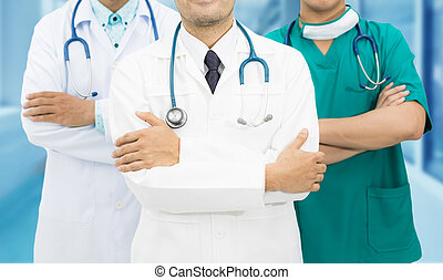 医者, グループ, 中に, 病院, バックグラウンド。, 精選する, 焦点を合わせなさい。