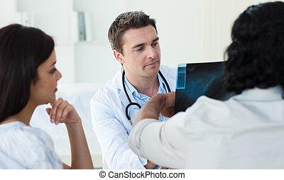 医者, グループ, 検査, x 線