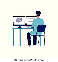医者, コンピュータ, 漫画, スクリーン, 見る, 結果, 脳走査