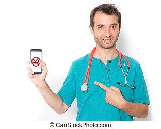 医者, シンボル, 止まれ, 電話, 喫煙, 痛みなさい