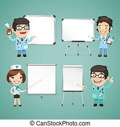 医者, セット, whiteboard