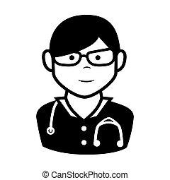 医者, デザイン, 漫画, 人