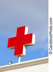 医者, ドイツ語, 病院, 交差点, ∥象徴する∥, ∥あるいは∥, 赤