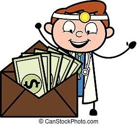 医者, ドル, 封筒, ベクトル, 漫画, 幸せ