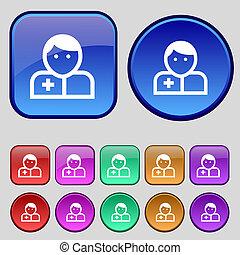 医者, ボタン, あなたの, セット, アイコン, 12, 印。, 型, design.