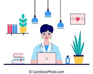 医者, モデル, 医者の オフィス