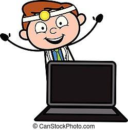医者, ラップトップ, イラスト, ベクトル, 漫画, 幸せ