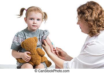 医者, ワクチン注射をすること, 子供