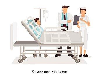 医者, 人, 患者, コンピュータ, タブレット, ward., 訪問の看護婦, 医療保障, 病院, concept.