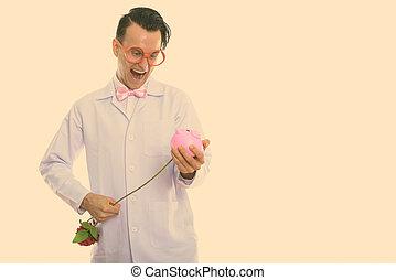 医者, 刺すこと, 銀行, 人, 間, スタジオ, 小豚, 幸せな微笑すること, バラ, 打撃, 中, 赤, 狂気
