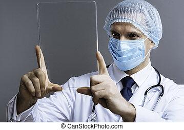 医者, 医学, マスク, 顔, ガラス, ポーズを取る, ハンサム