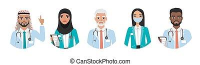 医者, 医学, 人々。, 人々, 特徴, セット, 病院, 看護婦, グループ, 別, スタッフ, チーム, nationalities., concept.