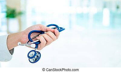 医者, 手の 保有物, 青, 病院, 聴診器