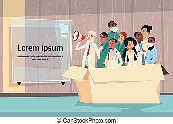 医者, 把握, メガホン, 拡声器, グループ, チーム, 白, チャット, 泡, コピースペース