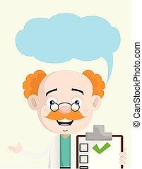 医者, 提示, 神経科医, スピーチ, レポート, 泡, 医学, 幸せ