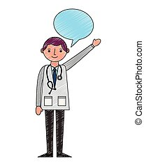 医者, 聴診器, コート, スピーチ, 専門家, 泡