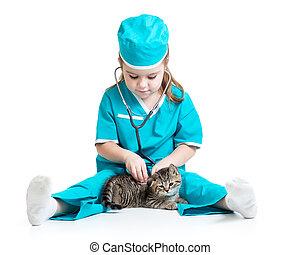 医者, 隔離された, ねこ, 子供, 女の子, 遊び