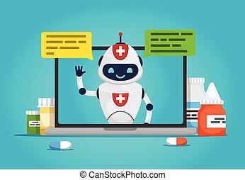 医者, bot., チャット, オンラインで