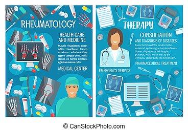 医者, rheumatology, ベクトル, 療法