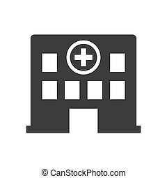 医院, 白色, 背景。, 图标