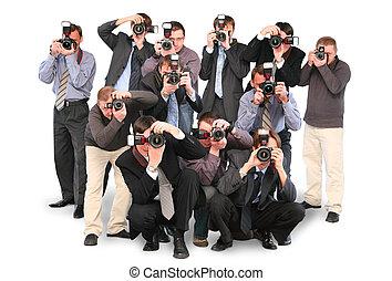 十二, 团体, 拼贴艺术, 双, cameras, paparazzi, 隔离, 摄影师, 许多, 白色
