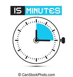 十五, 分鐘, 停止表, -, 鐘, 矢量, 插圖