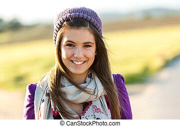 十代, かわいい, の上, 肖像画, 終わり, 女の子, outdoors.