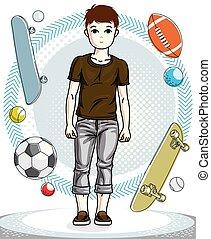 十代, かわいい, ファッション, 美しい, illustration., 男の子, 若い, clothes., 主題, ベクトル, ポーズを取る, 人間, 流行, 幸せ, 偶然, clipart.