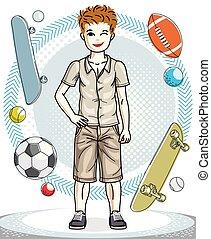 十代, かわいい, ファッション, illustration., 男の子, 幸せ, 若い, clothes., 主題, ベクトル, ポーズを取る, 流行, 子供, 偶然, clipart.