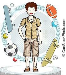 十代, かわいい, ファッション, illustration., 男の子, 身に着けていること, 幸せ, 流行, 若い, clothes., 主題, ベクトル, ポーズを取る, 人間, すてきである, かなり, 偶然, clipart.