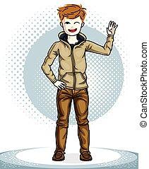 十代, かわいい, ファッション, illustration., 男の子, 身に着けていること, 幸せ, 流行, 若い, clothes., 主題, ベクトル, ポーズを取る, 魅力的, 子供, 偶然, clipart.